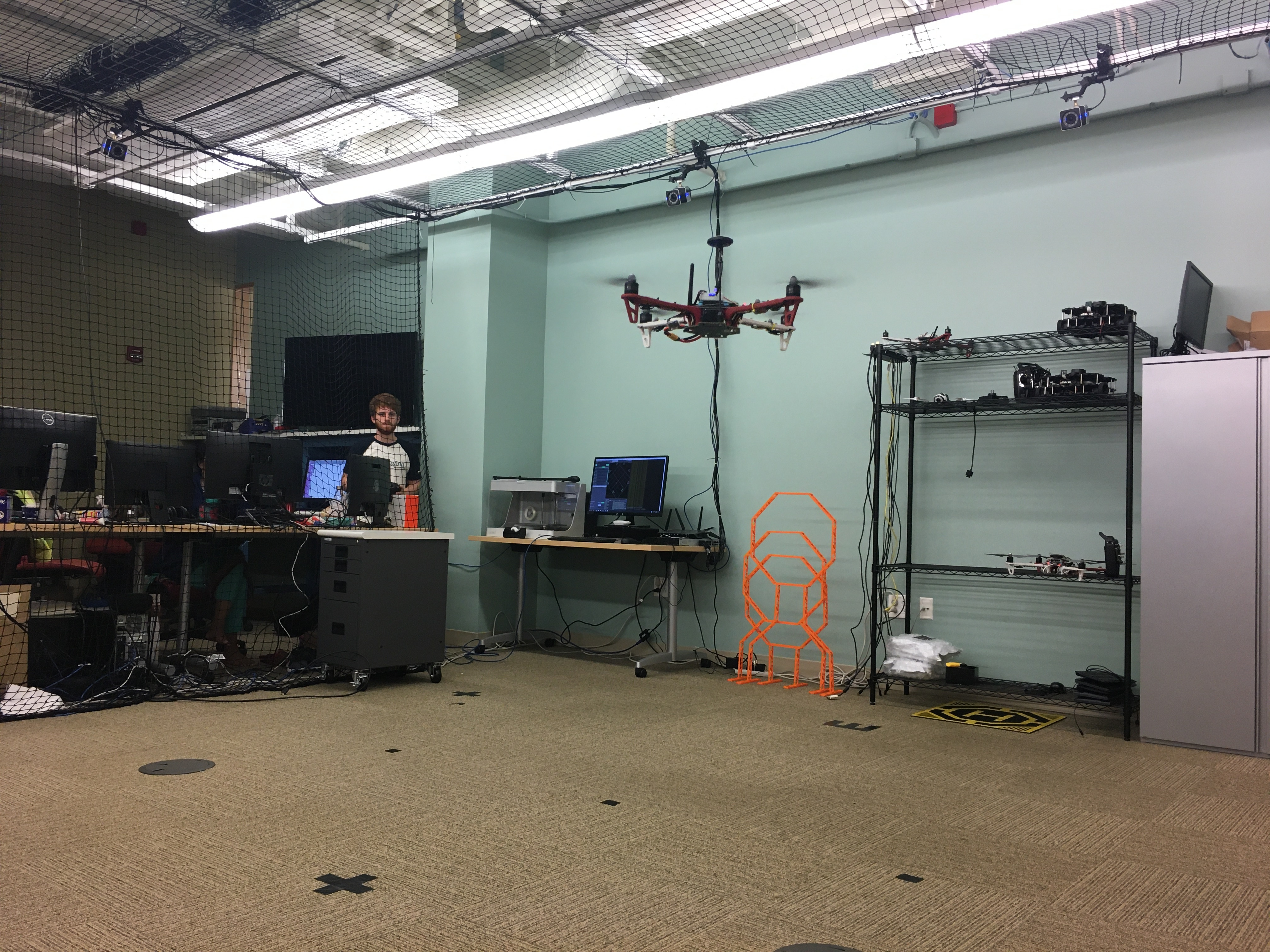 Micheal testing the flamewheel with its GPS overridden from our motion capture system.