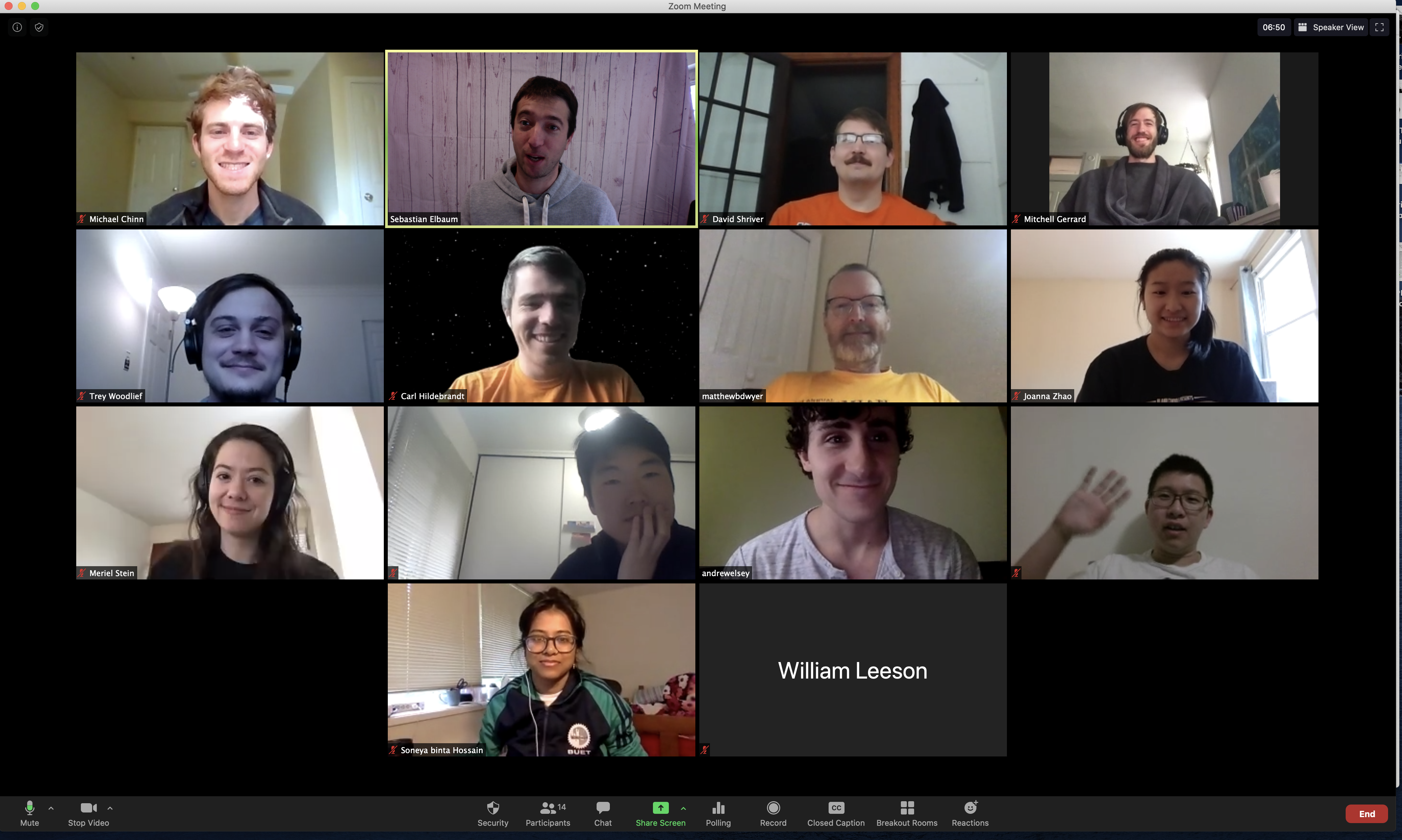 One of our first full lab Zoom meetings.